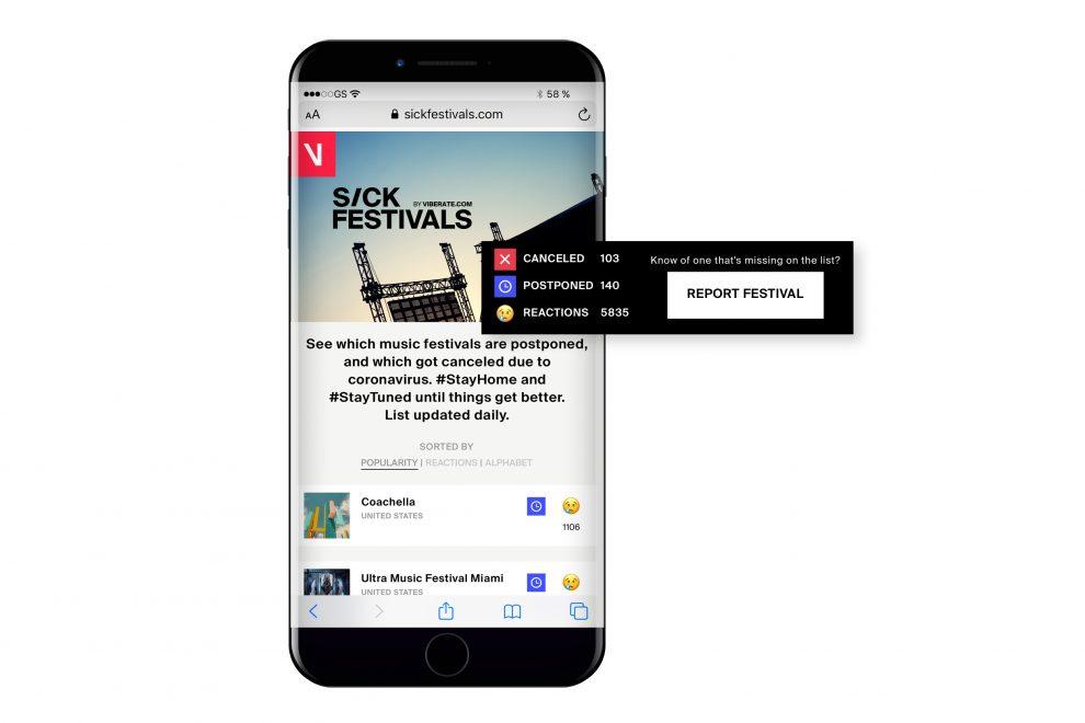 Sickfestivals.com glasbenim oboževalcem nudi podatke o odpovedanih in prestavljenih festivalih